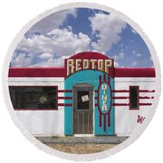 Red Top Diner On Route 66 Round Beach Towel