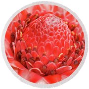 Red Torch Ginger Round Beach Towel