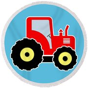 Red Toy Tractor Round Beach Towel