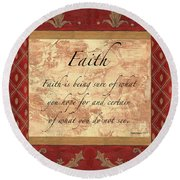 Red Traditional Faith Round Beach Towel