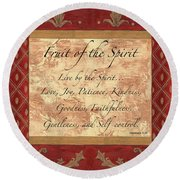 Red Traditional Fruit Of The Spirit Round Beach Towel by Debbie DeWitt