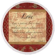 Red Traditional Love Round Beach Towel by Debbie DeWitt