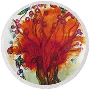 Red Tree And Friends Round Beach Towel