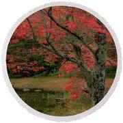 Red Tree II Round Beach Towel by Gary Lengyel