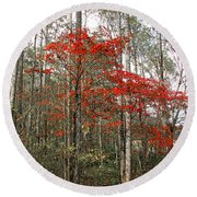 Red Tree Round Beach Towel