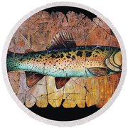 Red Trout Fresco Round Beach Towel