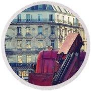 Red Truck In Paris Street Round Beach Towel