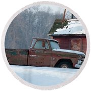 Red Truck In The Snow Round Beach Towel