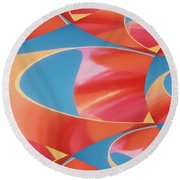 Red Tubes Round Beach Towel