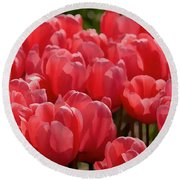 Red Tulip Buds Crest The Earth Round Beach Towel