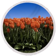 Red Tulip Garden Round Beach Towel