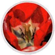 Red Tulip Texture Round Beach Towel