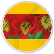 Red Tulip Trio Round Beach Towel