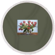 Red Tulips, Glass Vase Round Beach Towel