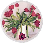 Red Tulips In Full Bloom Round Beach Towel