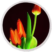 Red Tulips In Vase # 4. Round Beach Towel