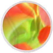 Red Tulips In Vase In Abstract Style #1. Round Beach Towel