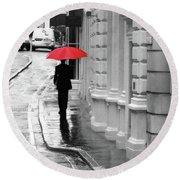 Red Umbrella In London Round Beach Towel