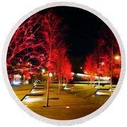 Red Urban Trees Round Beach Towel