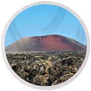 Red Volcano Round Beach Towel