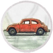 Red Vw Beetle Bug Pencil Round Beach Towel