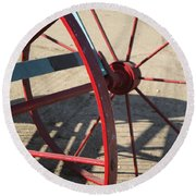 Red Waggon Wheel Round Beach Towel
