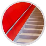 Red Walls Staircase Round Beach Towel