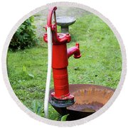 Red Water Pump Round Beach Towel