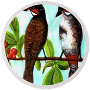 Red-whiskered Bulbul Bird, #246 Round Beach Towel