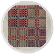 Red, White & Blue Coverlet Round Beach Towel