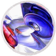 Red White And Blue Abstract Round Beach Towel by Alexander Butler