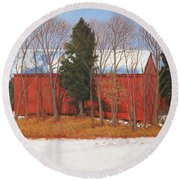 Red White And Blue Barn Round Beach Towel
