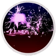 Red White And Blue Fireworks Round Beach Towel