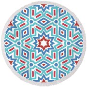 Red White And Blue Fireworks Pattern- Art By Linda Woods Round Beach Towel