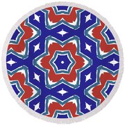 Red White And Blue Star Flowers 1- Pattern Art By Linda Woods Round Beach Towel