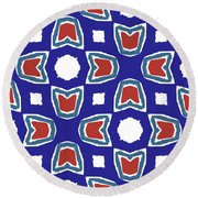 Red White And Blue Tulips Pattern- Art By Linda Woods Round Beach Towel