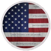 Red White And True Round Beach Towel