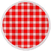 Red White Tartan Round Beach Towel
