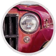 Red Willys Jeep Truck Round Beach Towel