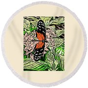 Red Winged Butterfly Round Beach Towel