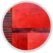 Red With Orange 2.0 Round Beach Towel