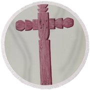 Red Wooden Cross Used As Headstone Round Beach Towel