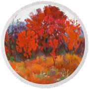 Red Woods Painting Round Beach Towel