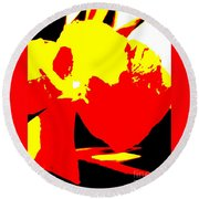 Red Yellow Abstract Round Beach Towel