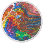 Red Yellow Blue Abstract Round Beach Towel