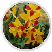 Red Yellow Orchids Round Beach Towel