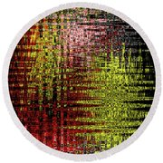 Red Yellow White Black Abstract Round Beach Towel