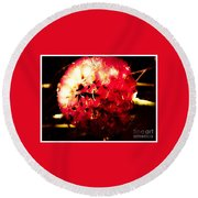 Red Zinnia Abstract Round Beach Towel