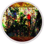 Redbird Sifting Beauty Out Of Ashes Round Beach Towel