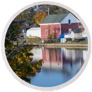 Redd's Pond Boathouse Marblehead Ma Massachusetts Round Beach Towel